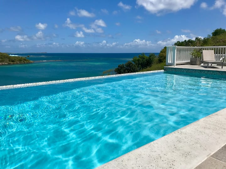 Antigua luxury waterfront 4 bedroom villa.  Pool.