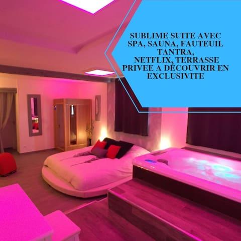 Suite Cupidon AMBRE - Spa et sauna privatif