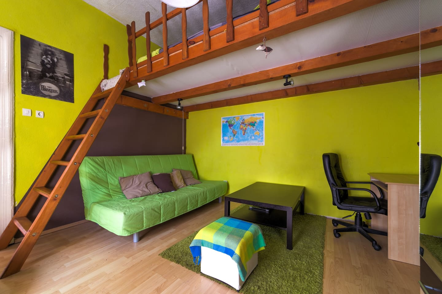 the living room with the convertable sofa bed
