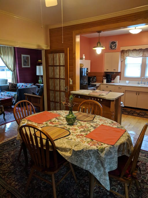Renovated dining room to renovated vintage kitchen