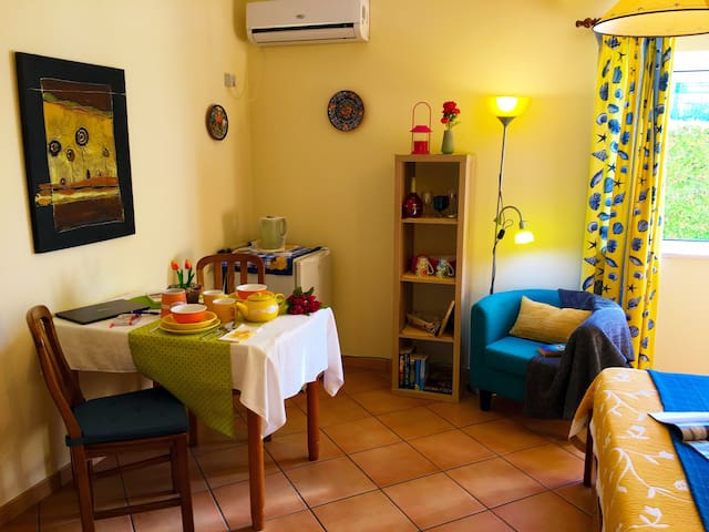 Your bedroom has air conditioning and is well equipped with fridge, kettle, plates & cups