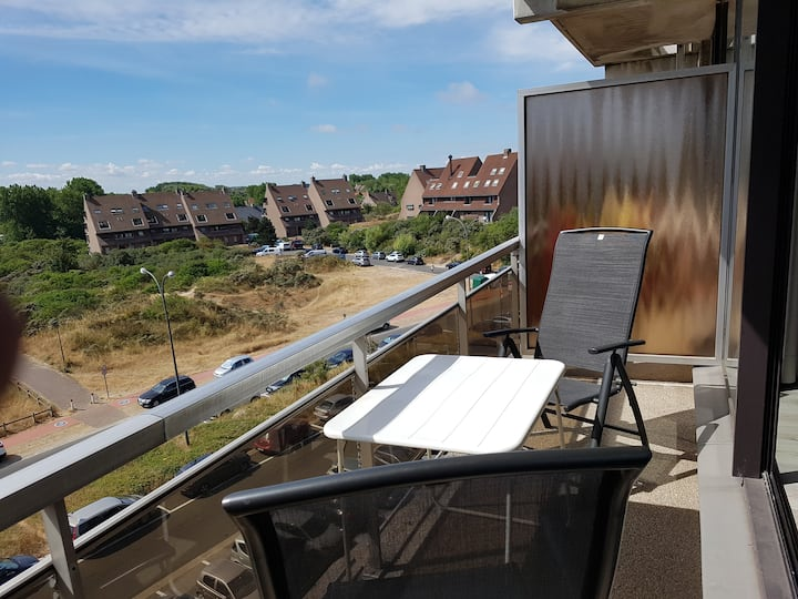 Studio, sunny terrace and beautiful view
