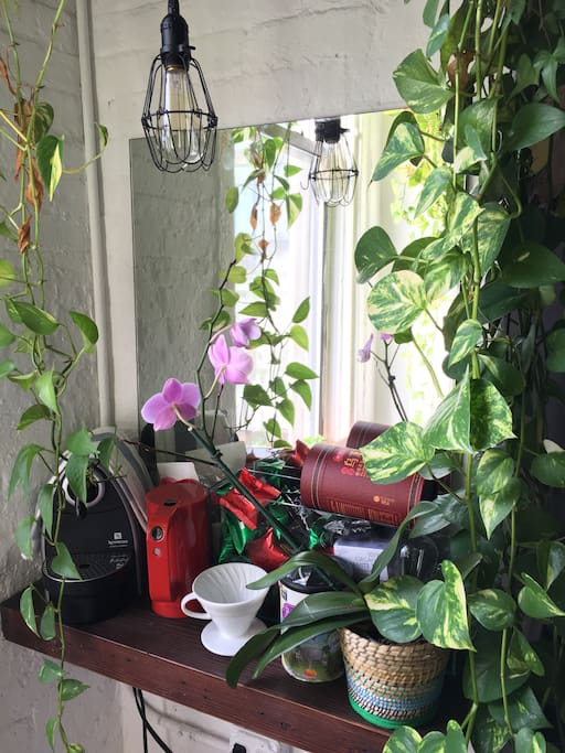 Tea and coffee nook by the window.