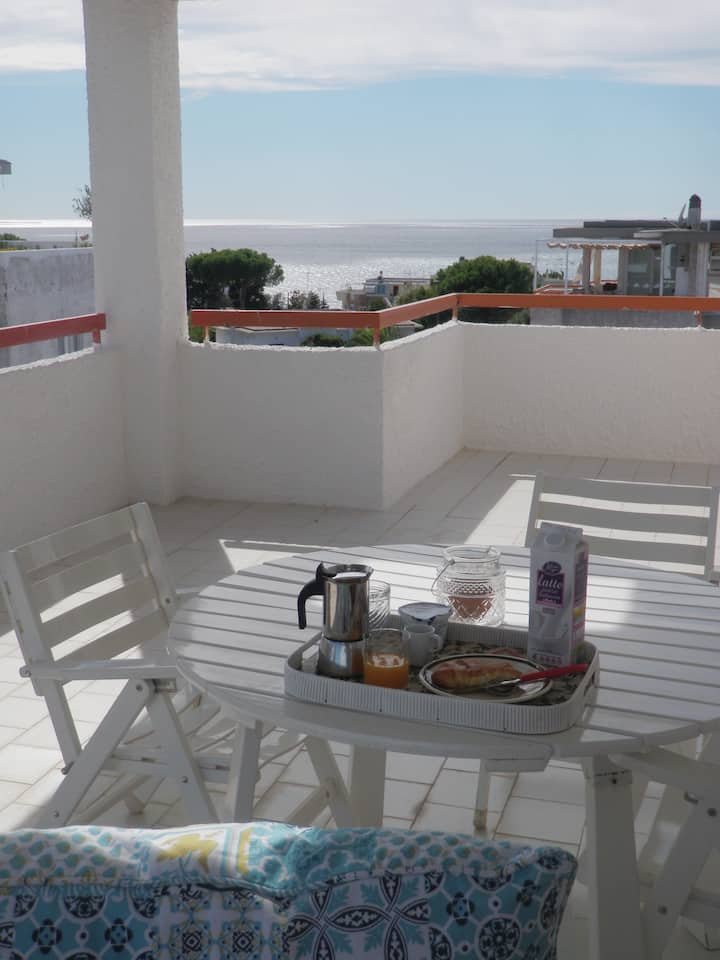 Delightful rooftop terrace flat with sea view