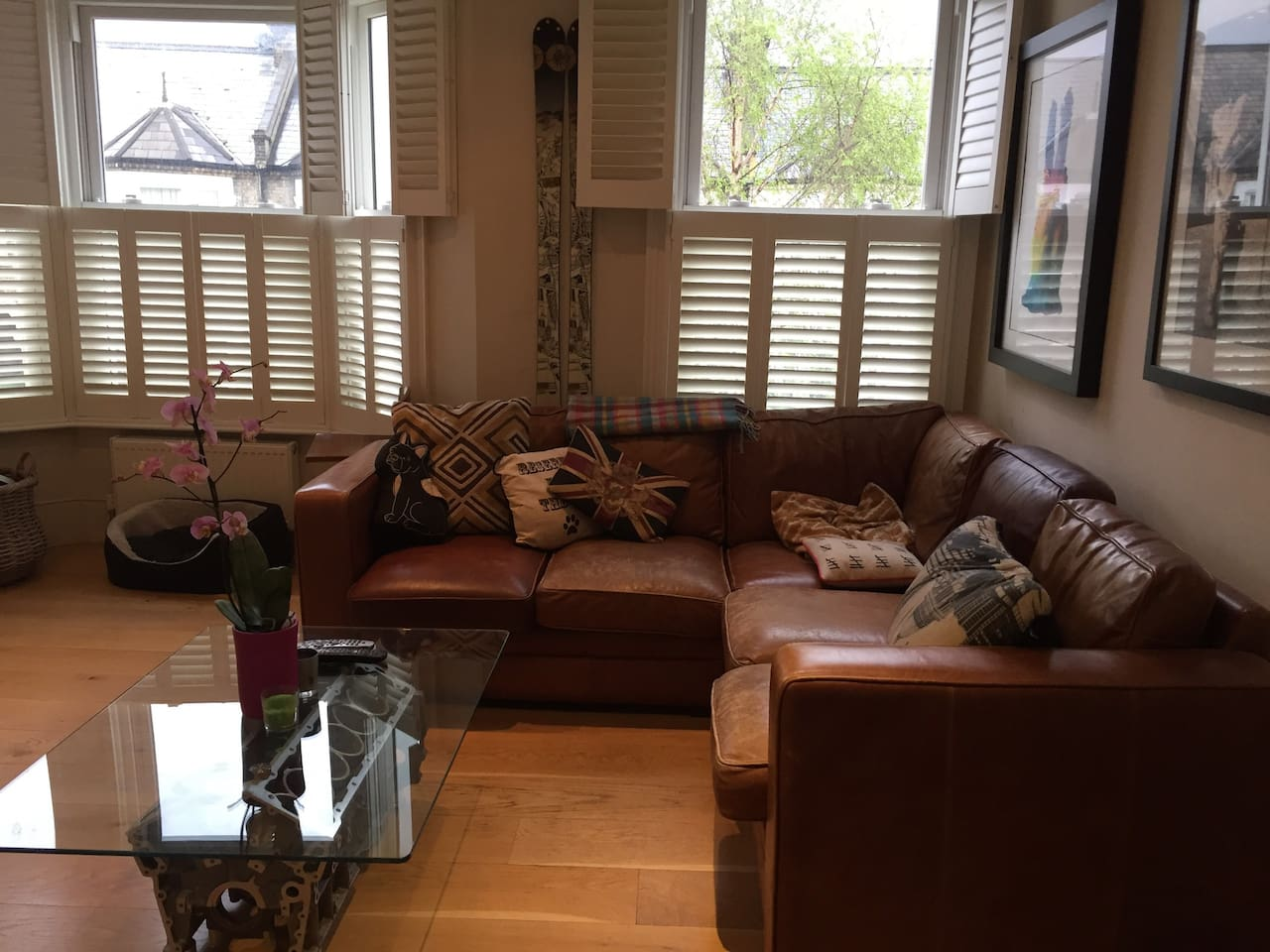 L shaped sofa and dog beds available if required