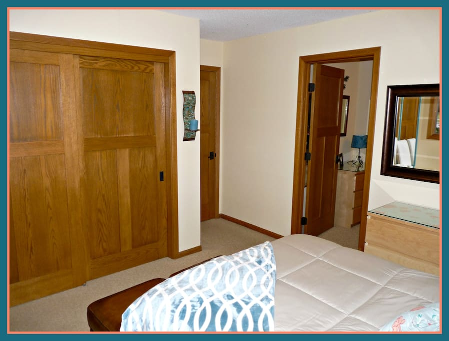 "Your private bedroom--closet space, connecting door to 2nd bedroom.  ..... ""This was my first Airbnb experience and it was AWESOME and PERFECT…I absolutely plan to stay here again."" Jonathan-2-17"