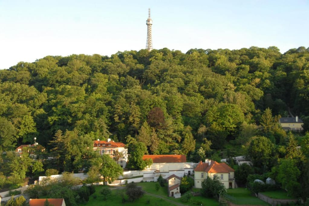 View from  the flat of the largest park in all of Prague - Petrin - just two minutes away.