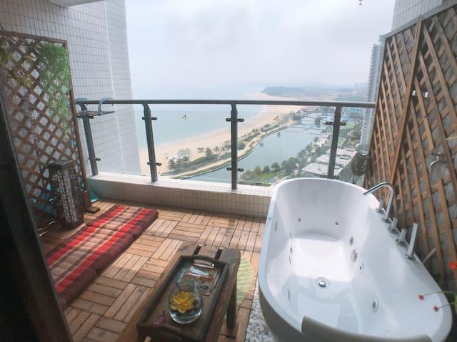 【听海泡温泉】【带按摩浴缸+按摩椅+卡拉OK】敏捷东南亚风情SPA房 【全敏捷只此一家】