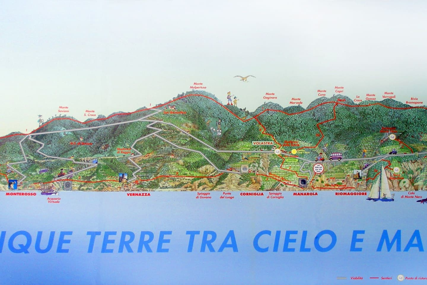 Cinque Terre's maps of paths