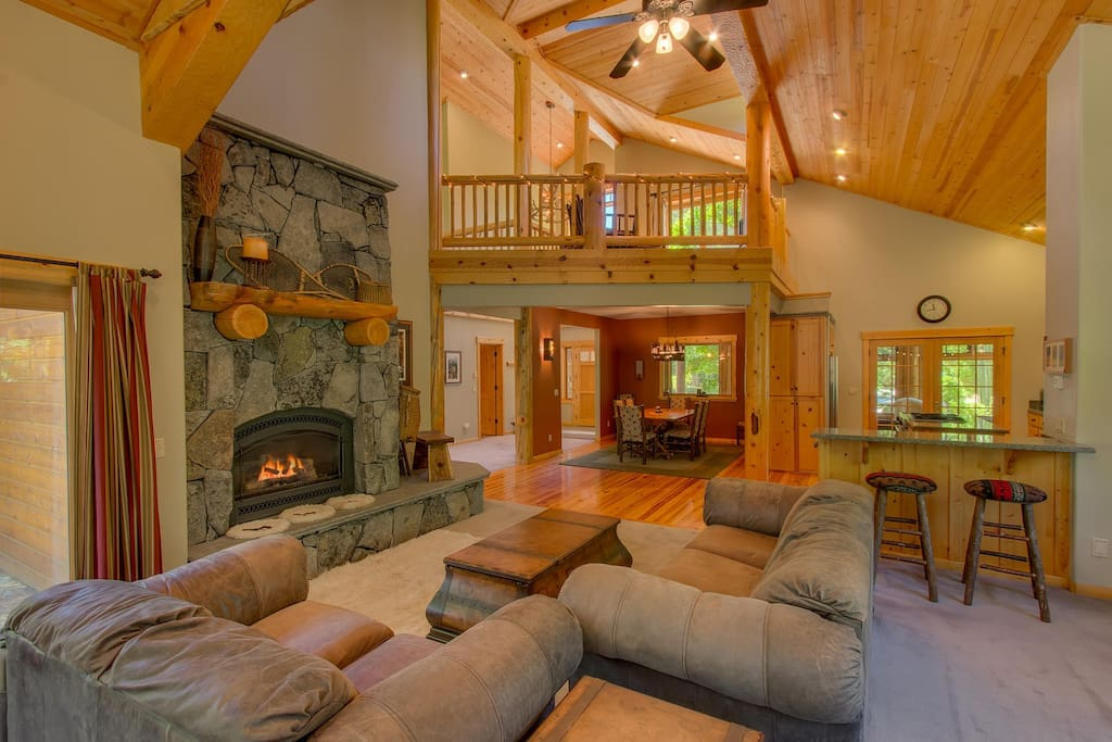 Comfortable living room with a gas fireplace