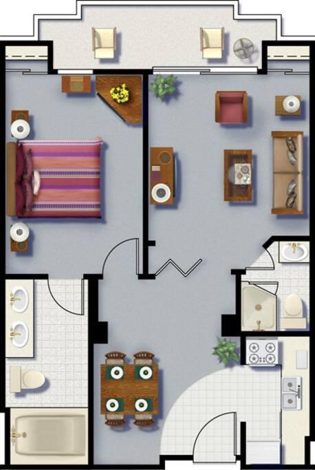 Floor plan for 1 bedroom condo