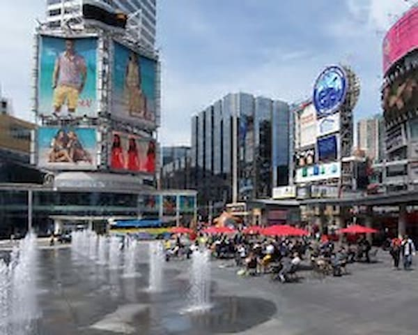 Yonge/Dundas square located in our backyard.