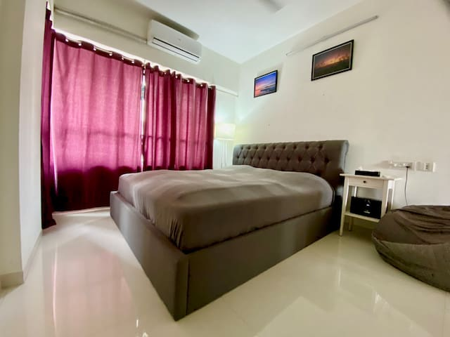 The private bedroom with king size bed.