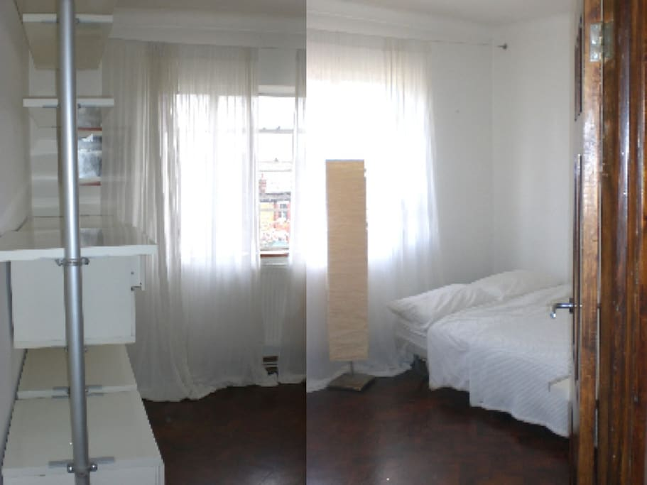 nice light bedroom, with a lovely view, a big wardrobe