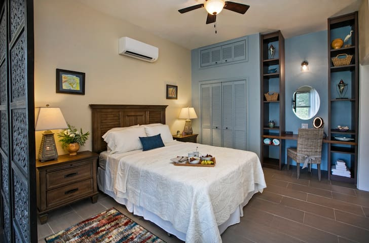 Inviting queen bedroom with A/C