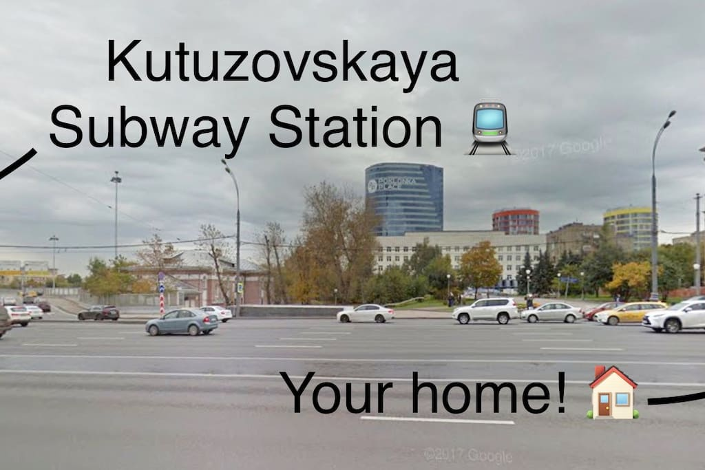 2-minute walk from front entrance of your building to the Kutuzovskaya Subway Station!  The subway station is 14 minutes away from Luzhniki Stadium, and 30 minutes to 1 hour away from  Otkrytiye Arena (also known as Spartak Stadium) !