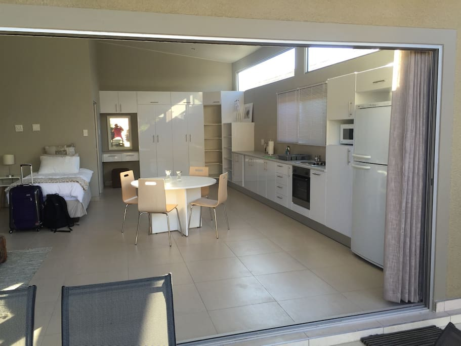 The open plan kitchen with everything a self catering apartment needs