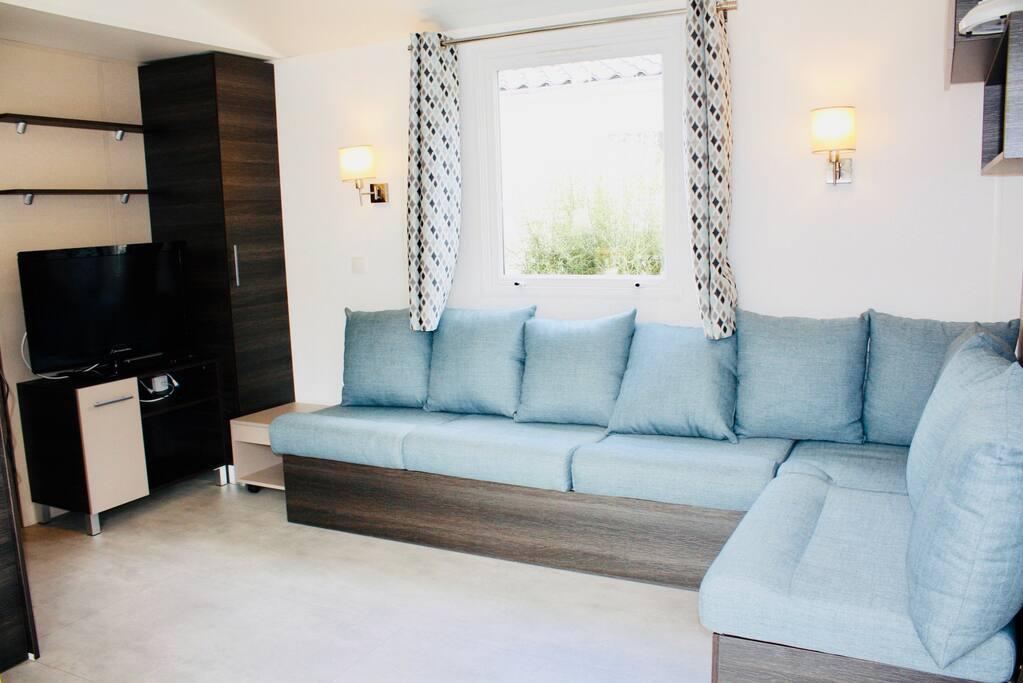 Salon avec TV, canapé 8p (dont canapé lit)