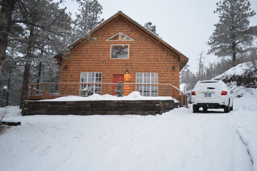 Guest's photo of cottage during Christmas snow