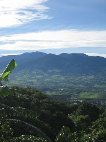 Early morning View of Volcano Irazu and Turrialba from meditation garden. Volcano Poas and Barva are also nearby.