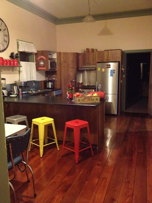 Funky kitchen with good cooking facilities and dishwasher