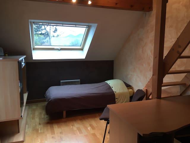 Une chambre 2 avec mezzanine dans maison calme.