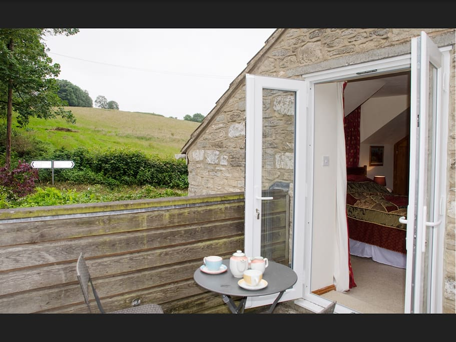 Balcony into bedroom - View of where the Cotswold Way crosses the B4060