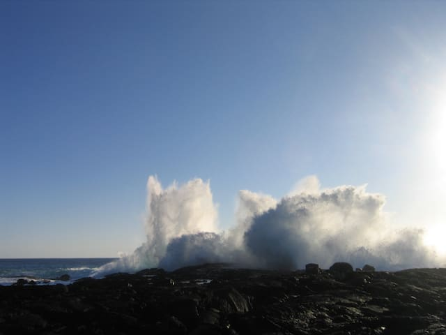 Watch the beauty and power of the BIG SURF in Kailua Kona.