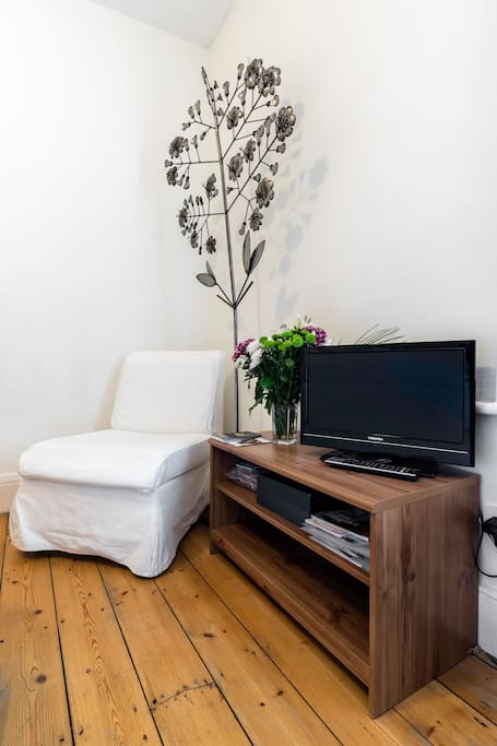 Photo by AirBnB photographer. Your bedroom comfy chair and TV,