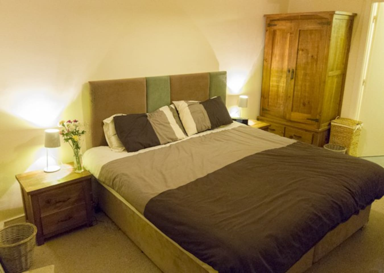 Large comfortable Super King sized bed with laptop and free internet access.