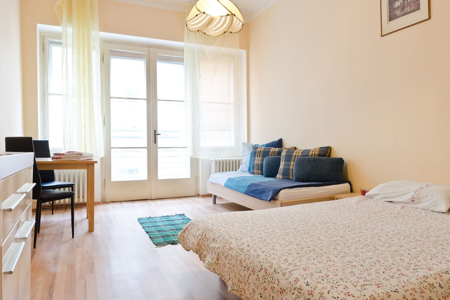 This is it!  The most private room in a 3 bedroom apartment located in the heart of Prague, between Old Town Square and Namesti Republiky. Have your own keys, walk everywhere, and make yourself at home in this fully-equipped, stocked and clean apartment.