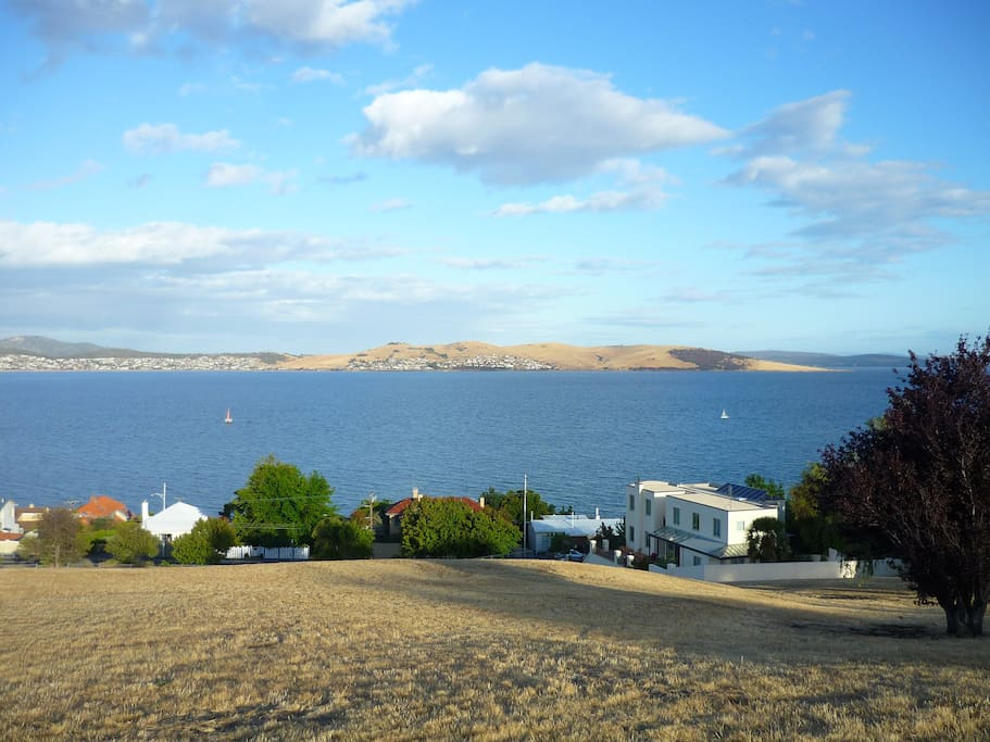 View from the Alexandra Battery looking east across the Derwent River, my home is on the right.