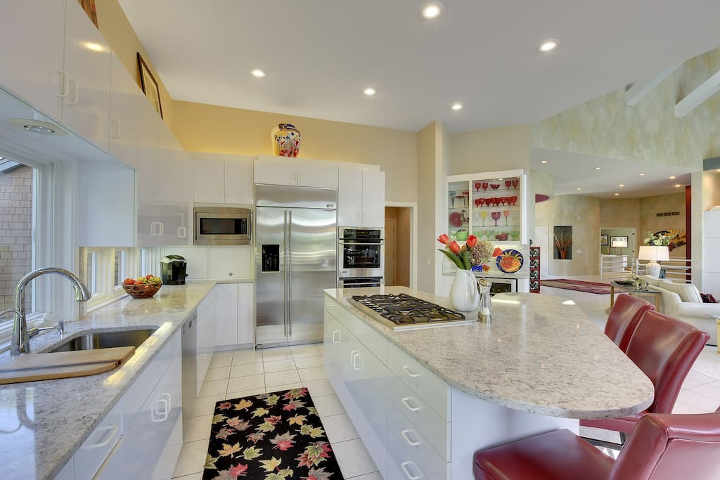 Well-equipped kitchen with newer appliances, plenty of seating.