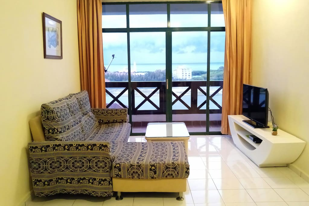 10th floor 2BR Home away from Home with good amenities and views of Melaka Straits and swimming pool.