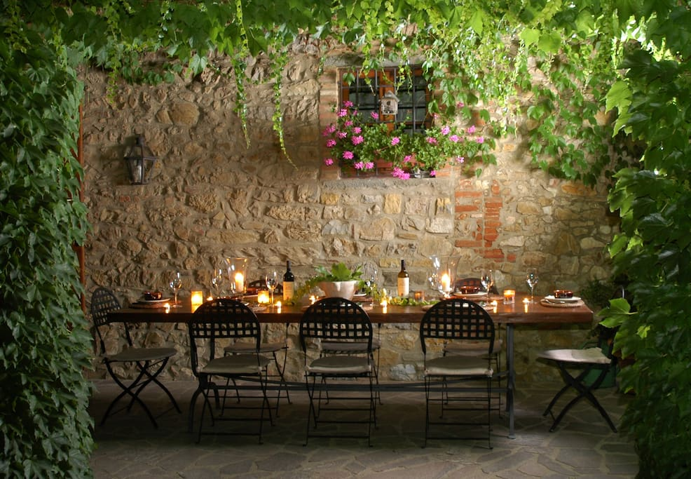 The patio for romantic dinners...