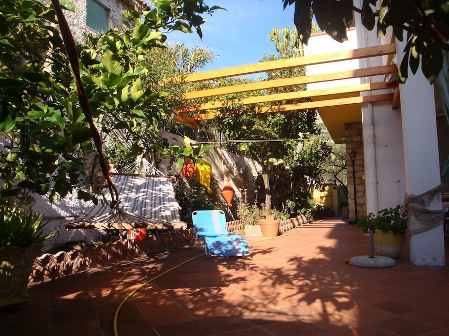 Terrace and garden.