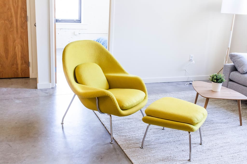 Our Womb Chair, designed by the same gentleman that designed the St. Louis Arch – Eero Saarinen.