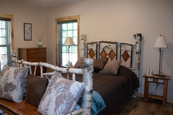 Hand crafted bed made with White Birch