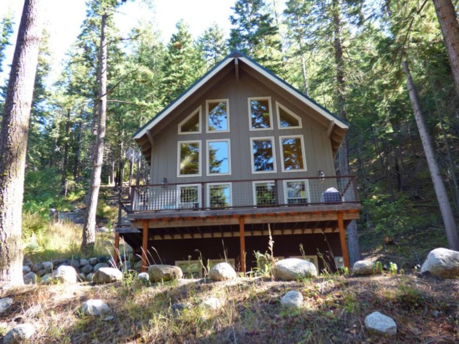 Large home named the Arapahoe Lodge at Wallowa Lake.  Upper area is middle and top level, lower area is your area.