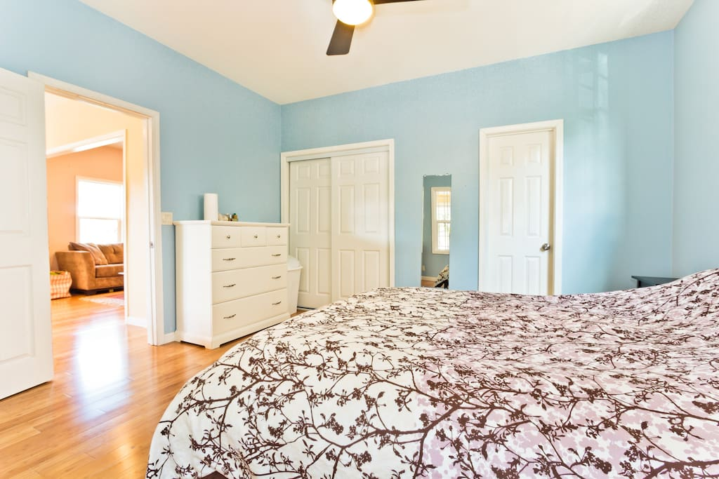 Half of the closet and the chest of drawers will be available during your stay.