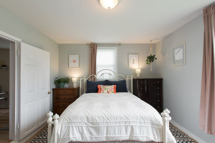 Your master bedroom has high ceilings and nice light. A brand new master bath is steps away.