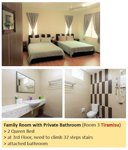 Room 3 (3rd floor, 32 steps stairs) : 2 Queen beds, attached bathroom