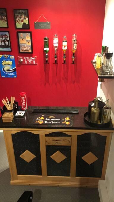 Sports room bar.