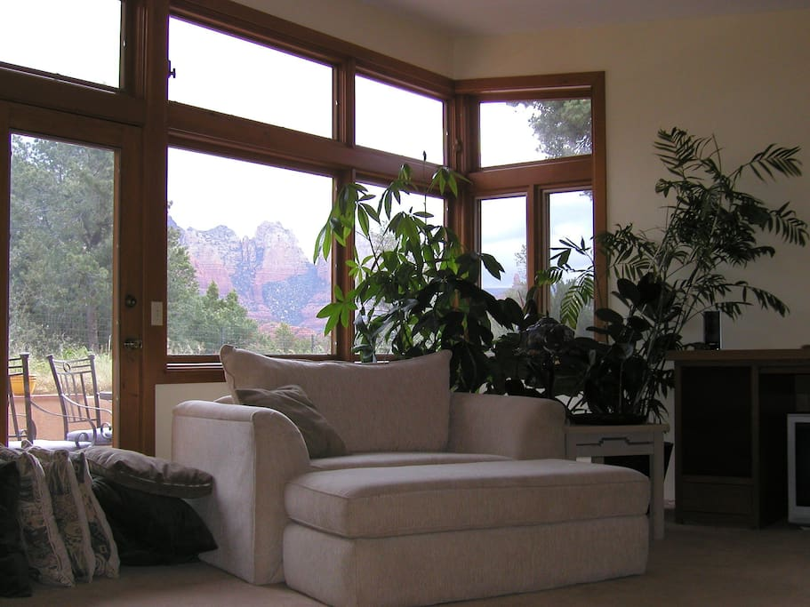 Big Comfy Chair in Living Room with Gorgeous Views in the Background