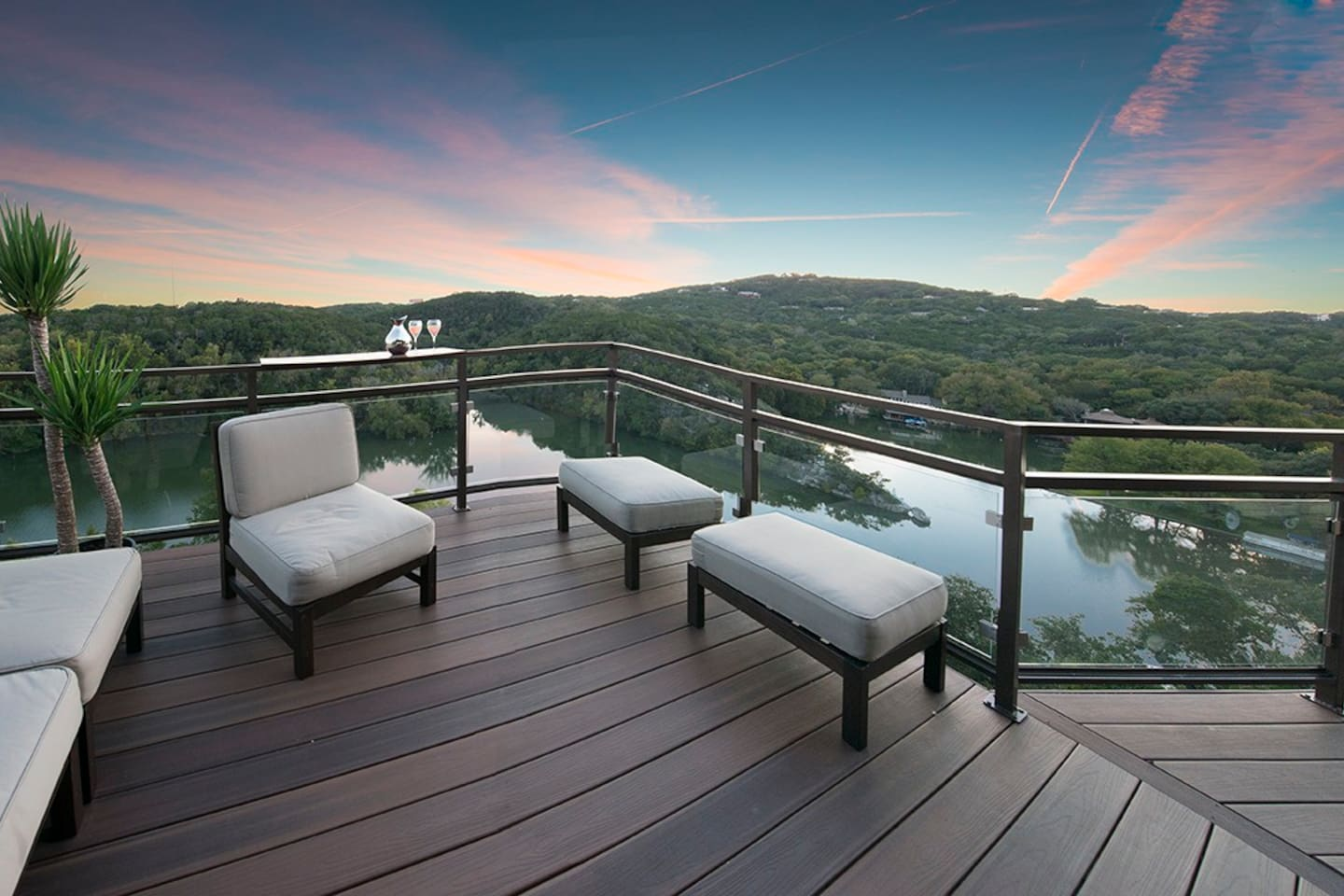 Deck off of living room overlooking Lake Austin and Downtown.
