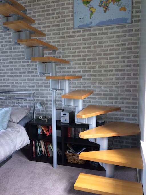Stairs leading to office space