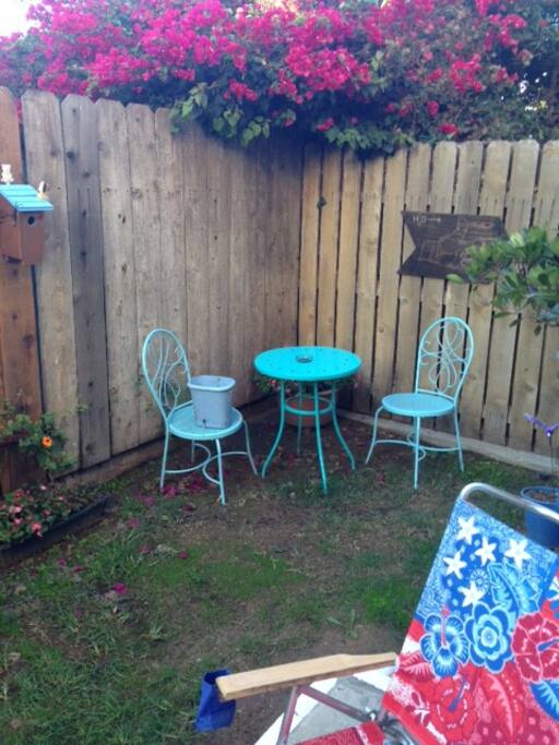 bistro table in backyard