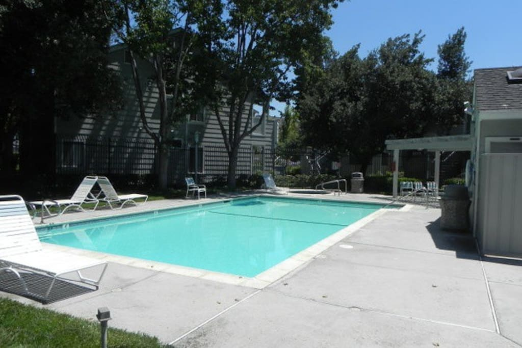 Community pool available, heated from April - Oct.