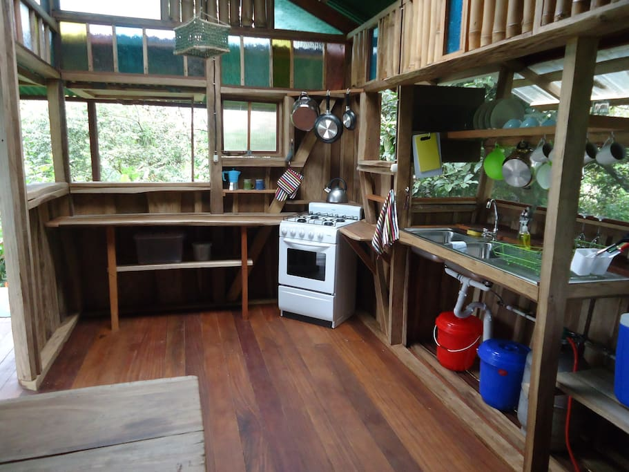 Fully equipped self-catering kitchen & seating area