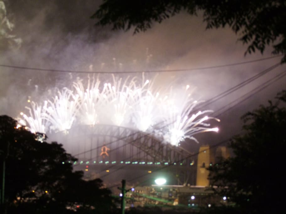 New Years fire works viewed from balcony. Best seat in town!